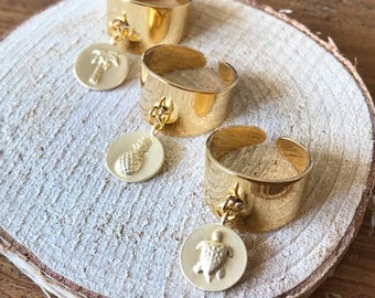 Brass ring with charm