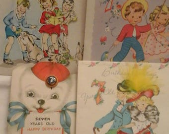 Vintage  7th birthday  greeting  cards
