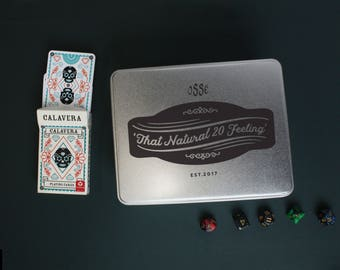 That Natural 20 Feeling Tabletop Accessory Tin - Vintage Styled Tin - Dungeons and Dragons Accessory Tin - Dice Storage - DnD Accessory Tins