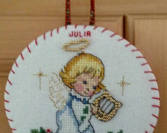 Personalized cross stitched Christmas ornament