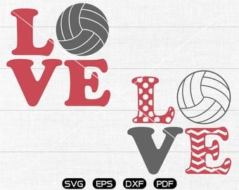 LOVE volleyball SVG,  volleyball Clipart, cricut, cameo, silhouette cut files commercial &  personal use