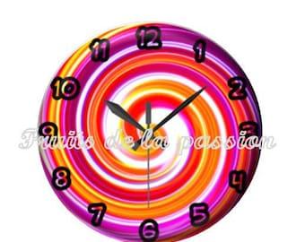 1 cabochon 25mm round glass multicolored clock