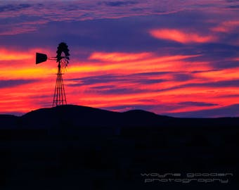Fire In The Sky, Landscape Photography, Home Decor, Wall Art, Country Scenes, Sunset, Windmill, Marfa Texas