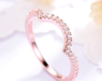 Rose Gold CZ Wedding Band Sterling Silver 14k 18k Cubic Zirconia Engagement Ring Bridal Stacking Band Half Eternity Curved Unique Promise