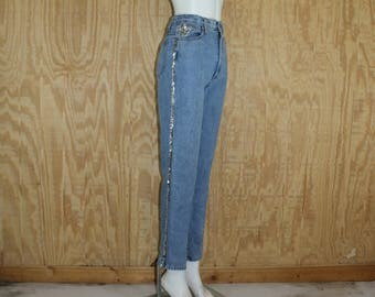 Vintage 1980's Danger Frederick's Of Hollywood Blue Jean Denim Jeans High Waist Sequins Skinny Pants 25 x 29.5