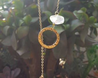 Stunning polished quartz crystal hoop through necklace on gold plated chain