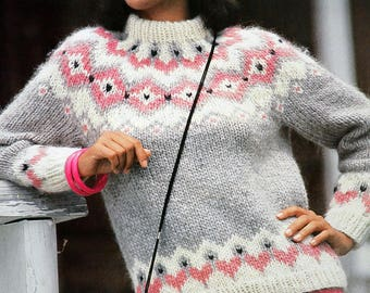 Pastel jacquard pattern sweater from Iceland for Lady