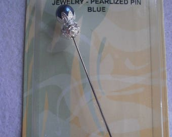 "PIN ""Jewel"" Pearl Pearly blue 70mm (7cm)"