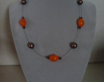 Simple orange and Brown fashion necklace