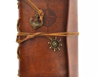 Classic Retro Leather Journal Traveler's Notepad Blank Brown Notebook