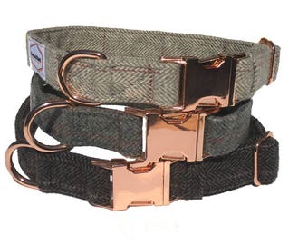 The Bailey Collar - Gray plaid with rose gold buckle