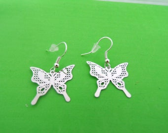 Earrings with silver Butterfly prints