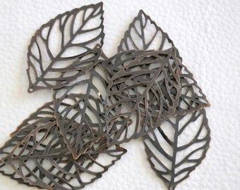 5 copper leaf pendants