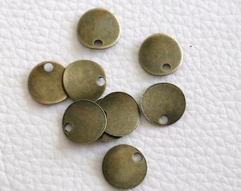 Charm / medal / sequin / lozenge color bronze 13 mm