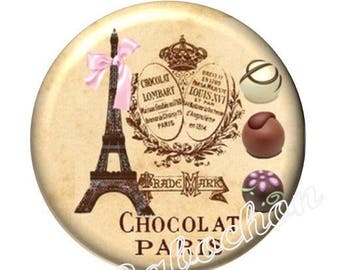 1 cabochon 30mm glass cabochon Paris eiffel tower chocolate cake image shown