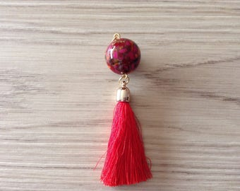 Pendant mosaic Pearl and Red tassel