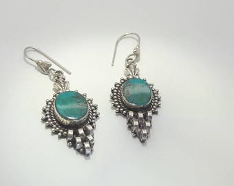 Turquoise Sterling Silver Dangle Earrings/Vintage/Handmade Silver/Free Shipping US/Statement Jewelry/Gift for Her/Christmas/Birthday