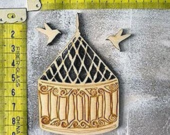 1777 cage and bird embellishment made of wood for your creations