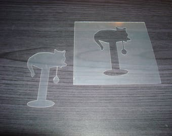 Tree stencil has P0149 cat for your pages, cards, your walls