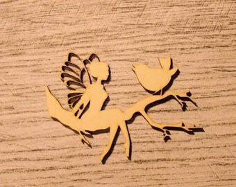 the fairy and bird 1198 embellishment wooden creations