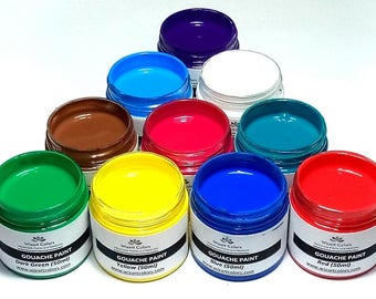 Handmade Gouache Paint Set of 10 brightly and intense colored paints for art and craft by Wizart Colors