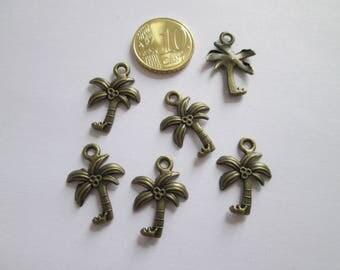 6 breloque arbre palmier en métal bronze 23 x 17 mm