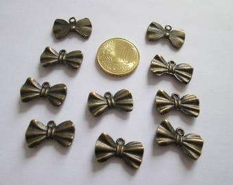10 breloque nœud papillon en métal couleur bronze 19 X 11 mm