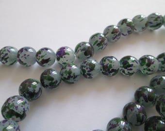 40 Perles en verre gris tacheté 10mm