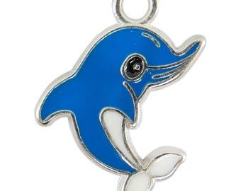 2 metal enamelled color blue bc222 Blue Dolphin charms pendants