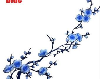 x 1 badge/patch applique fusible cherry blossom blue 38 x 14 cm @B8