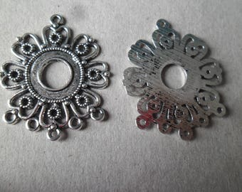 x 5 charm connectors carved flower shaped Silver 3.5 x 2.9 cm