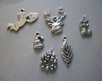 Silver set of 6 mixed Christmas charms pendants