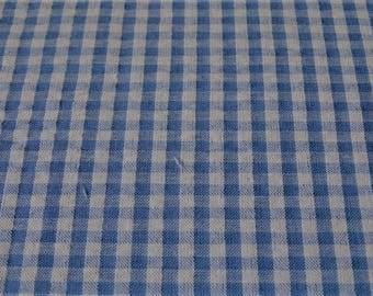 SKY blue seersucker gingham fabric, embossed