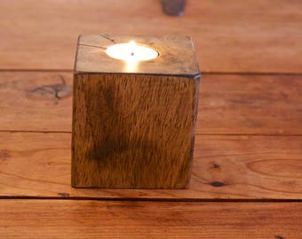 Single Tealight Holder, made from recycled wood