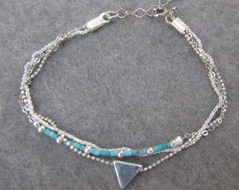 925 sterling silver triangle bracelet three chains