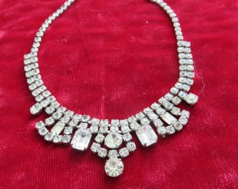 Vintage Sparkling Paste Jewelry Rhinestone Necklace Bridal Necklace