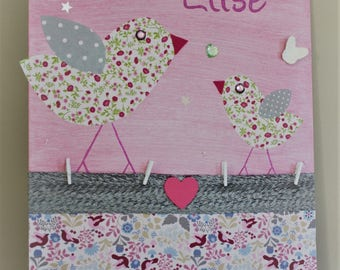 Table name for child's room, fabric liberty, pink birds