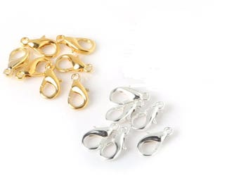 10 clasps 10mm gold or silver