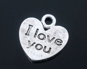 PB142 - Set of 10 charms, love writing I love silver-plated 12x11mm