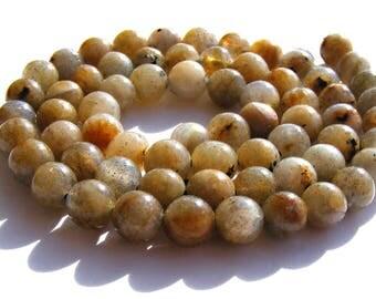 8 labradorites de 8 mm perles pierre beige