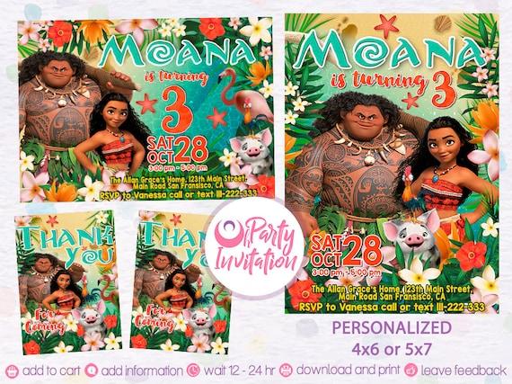 Moana birthday invitation and free thank you tags Moana Invites