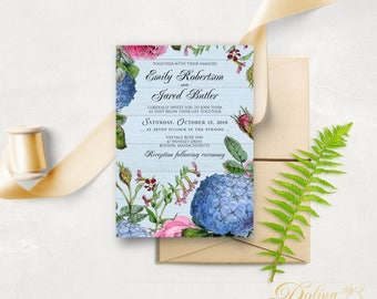Rose & Hydrangea Garden Wedding Invitation Printable Flowers Invite Blue Pink Wedding Invitation Rustic Wedding Floral Invitation Template