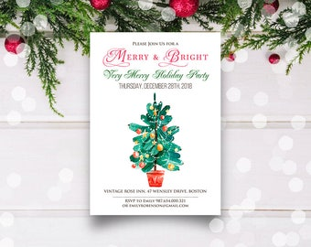 Merry & Bright Christmas Invitation Christmas Tree Holiday Invitations Template Printable Christmas Dinner Invites Winter Watercolor Invites