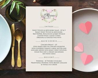 Elegant Wedding Menu Valentine Day Printable Menu Template Rustic Wedding Menu Card Dinner Menu Rose Flower Heart Digital Menu Birthday Menu