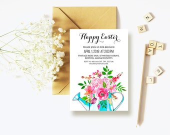 Happy Easter Invitation Watercolor Flowers Printable Invite Easter Dinner Easter Brunch Easter Party Invitation Spring Flowers Invitaton DIY