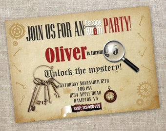 Escape room invitations etsy for Escape room party