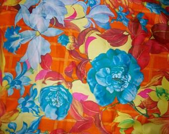 Vintage 1970s Floral Fabric Yardage