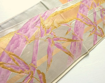 Japanese Vintage Cream Fukuro Obi Purple Gold Bamboo M185