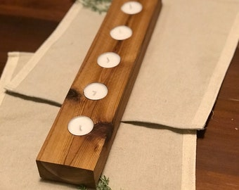 Cedar Wood Tealight Candleholder