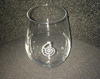 Nautilus Ammonite beach shell Lyme Regis hand engraved stemless wine glass
